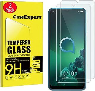 CaseExpert 2-pack – Alcatel 3X (2019) härdat glas, kristallklart skärmskydd skydd och putsduk för Alcatel 3X (2019)