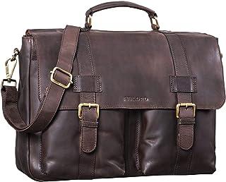 """STILORD Zeus"""" Große Leder Aktentasche Vintage Lehrertasche Businesstasche 15,6 Zoll Laptoptasche XL Umhängetasche Herren Damen Echtleder aufsteckbar, Farbe:matt - Dunkelbraun"""