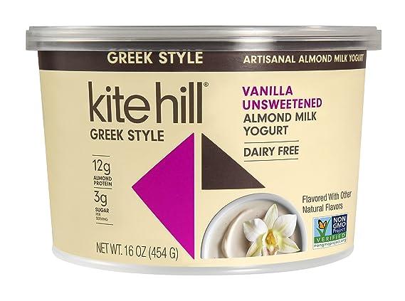 Kite Hill Greek Style Vanilla Unsweetened Almond Milk Yogurt, 16 Ounces, Dairy Free