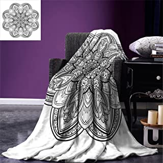 Luoiaax Henna Throw Blanket Mandala Design in Black and White Ethnic Inspirations Doodle Amulet Style Monochrome Warm Microfiber All Season Blanket for Bed or Couch Black White