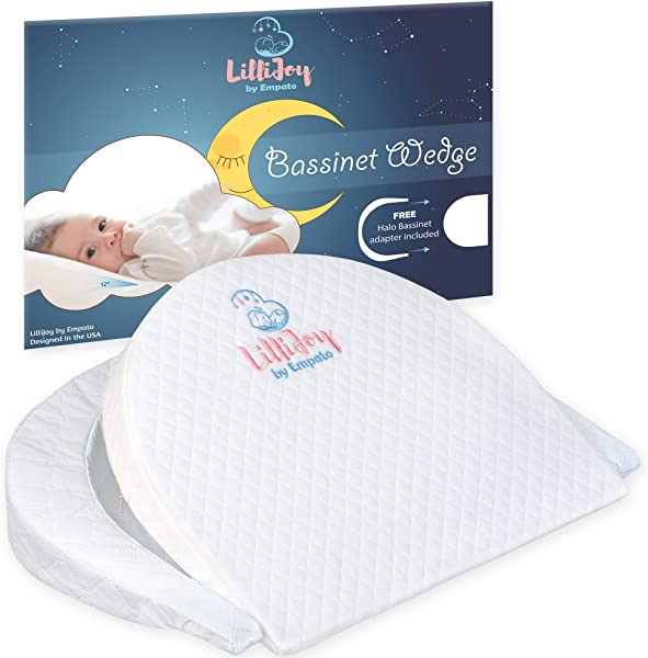 LilliJoy Premium Bassinet Wedge Pillow For Baby Fits Halo Bassinet 12 Incline Sleep Positioner For Elevated Head Torso Support Anti Reflux Sleeper For Infant Or Newborn Colic Congestion