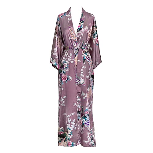 ac0239e54e Old Shanghai Women s Kimono Long Robe - Peacock   Blossoms