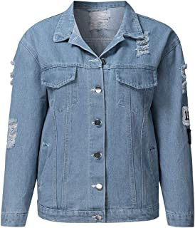 Women's Loose BF Style Retro Denim Jacket Motorcycle Punk Ripped Coat