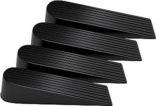 VIPITH Door Stop Heavy Duty Flexible Rubber Door Stop Wedge Non-Scratching Door Stoper for Home Office Work on Multi Surfaces Black 4 Pack