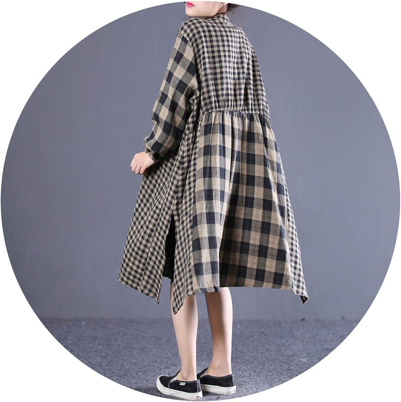 PilotageAuto Plaid Dress for Women Stand Collar Long Sleeve Loose Oversize Hem Split Dresses