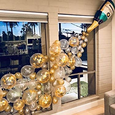 88 PCS Champagne Balloon Garland Arch Kit, Inculding 2Pcs 40inch Champagne Bottle Balloon, Pearl Gold Silver Balloons, Gold Confetti and Clear Balloons, Balloons for Birthday Party, Birthday Wedding Bridal Baby Shower Bachelorette Engagement Anniversary Baptism Party Balloons Decorations, Globos Para Fiestas, Birthday Party Supplies for Boy or Girl.