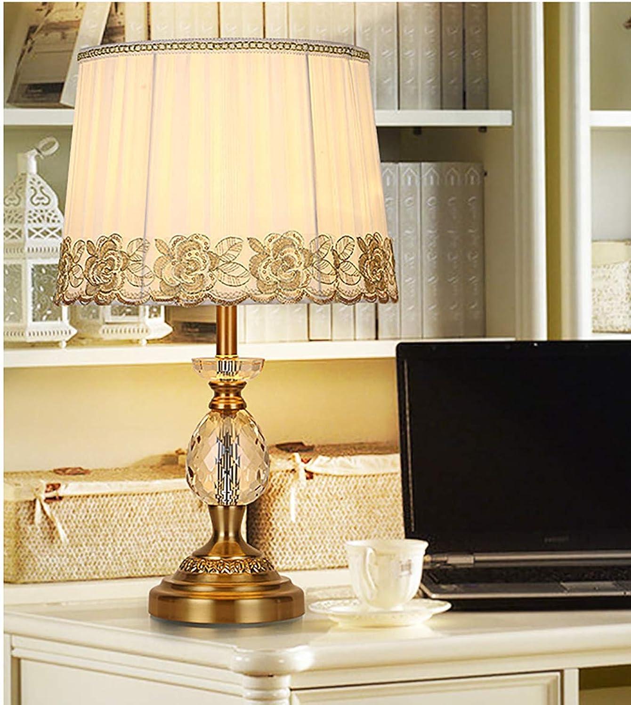 ZIXUAA Europische Moderne Minimalistische K9 Stoff Kristall Tischlampe Home Hotel Schlafzimmer Dekoration Nachttischlampe-C
