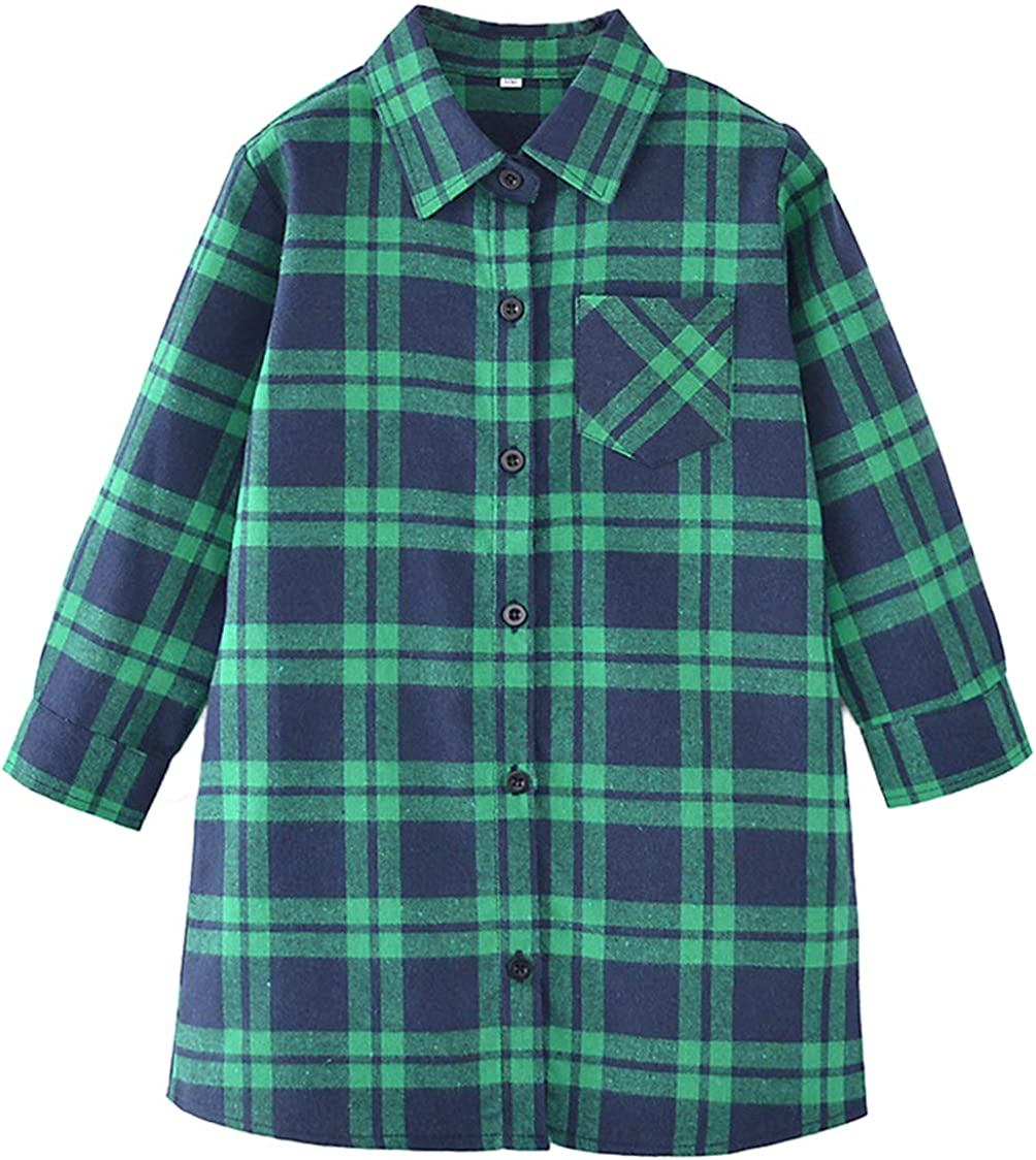 SERAIALDA Fixed price for sale Girls Long Excellence Sleeve Button Down Plaid Blouses Shirt