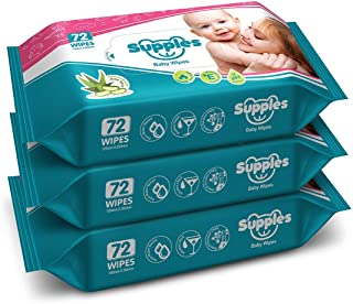 Supples Baby Wet Wipes with Aloe Vera and Vitamin E - 72 Wipes/Pack, (Pack of 3)