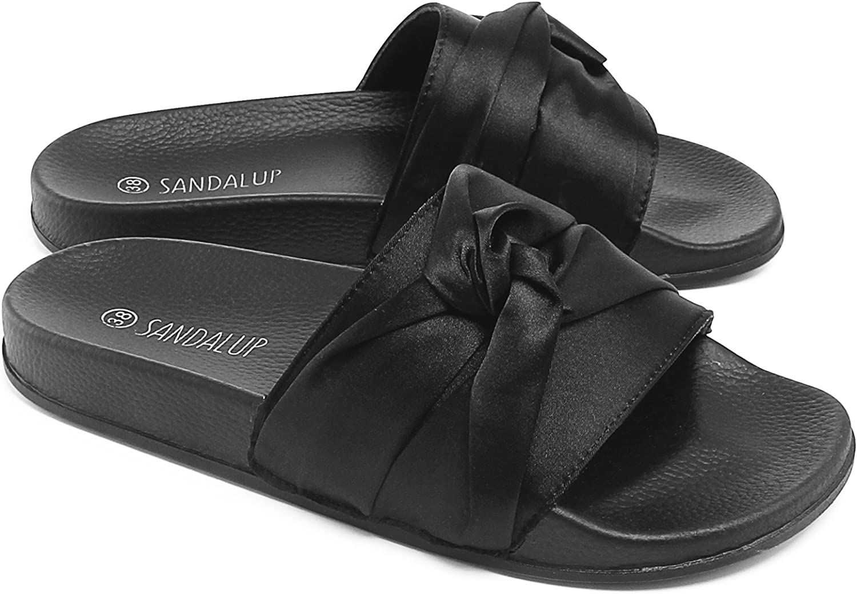 Sandalup Open Toe Cross Silk Slipper Soft Sole Sandals for Women