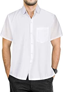 1552393f LA LEELA Men's Aloha Hawaiian Shirt Short Sleeve Button Down Casual Beach  Party Blue