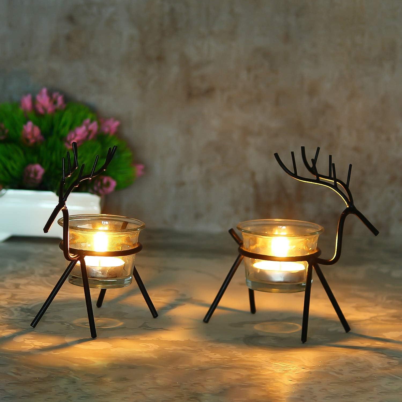 WebelKart Tree Cute Christmas Reindeer Tealight - pc Holder 2 Max 82% OFF Bombing free shipping B