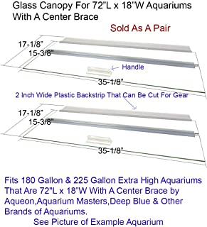 Aquarium Glass Canopies For Aquariums With & Without Center Braces, 10 to 360 Gallon Aquariums. Carefully Select Size and Match Exact Canopy Measurements -See Pictures and Please Read Full Description