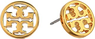 Women's Gold Logo Circle Stud Earrings