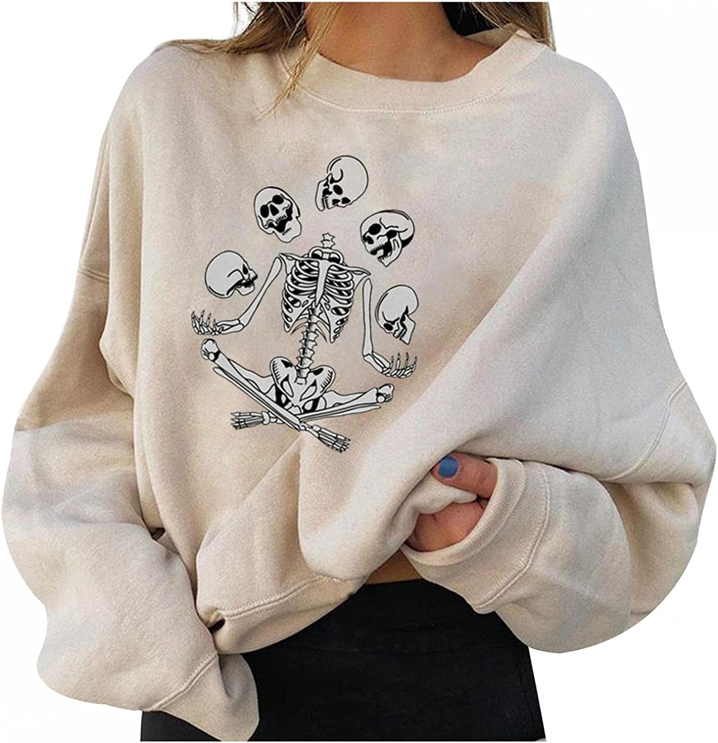 Oversized Sweatshirt for Women Vintage Cute Graphic Long Sleeve Casual Loose Crewneck Pullover Sweaters Tops Shirts