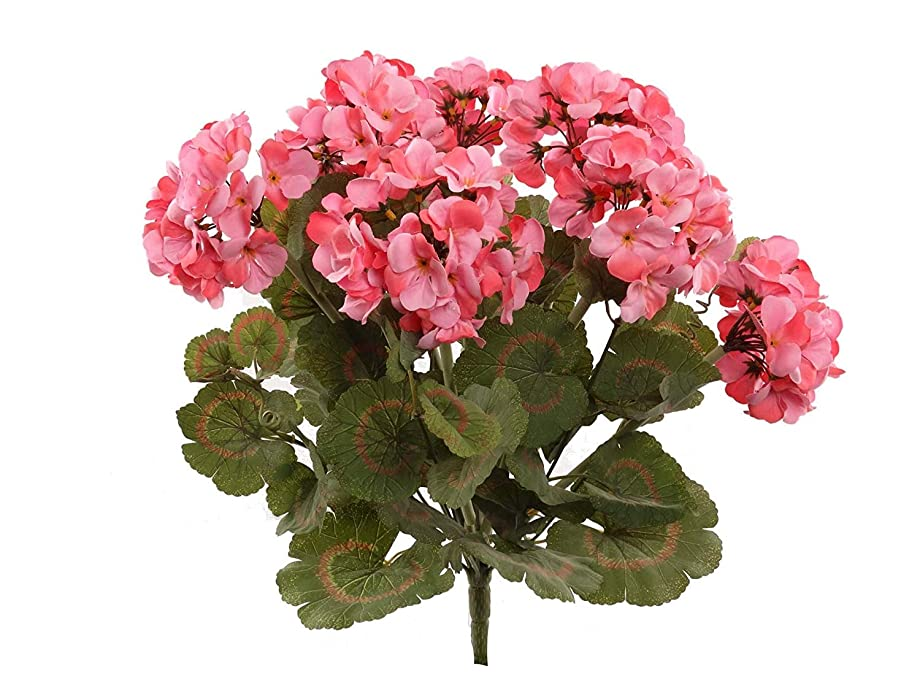 Larksilk Pink Artificial Geranium Flower Bush | Decorative Silk UV Resistant Artificial Plant Perfect for Outdoors or Indoor Décor, 22-Inch Tall