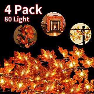HWG Fall Decor Fall Light Maple String Lights with 4 Packs 80 LED Waterproof 3AA Battery String Light for Halloween Thanksgiving Christmas Birthday Party Wedding Decoration