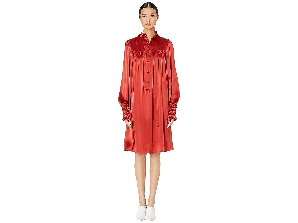 Image of Adam Lippes Charmeuse Long Sleeve Ruffle Neck Mini Dress (Rust) Women's Dress