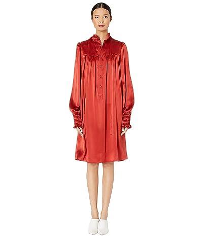 Adam Lippes Charmeuse Long Sleeve Ruffle Neck Mini Dress (Rust) Women