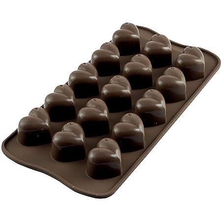 Silikomart 22.101.77.0065 SCG01 Moule pour Chocolat Forme Mon Amour Coeur 15 Cavités Silicone Marron