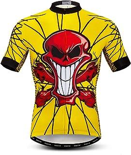 Uomo weimostar Maglia Da Ciclismo Uomini Alta Traspirante Maglia MTB Camicie Estive Corsa Bicicletta Top Posteriore Safty Striscia Riflettente 19 For Chest 45.7=Tag XXL