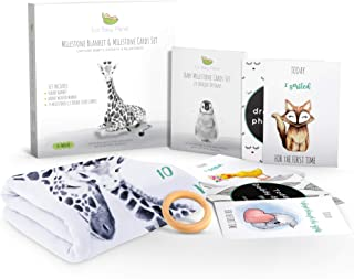 Eco Baby Planet Baby Milestone Blanket - Includes Milestone Blanket, Cards & Wooden Ring Marker - Monthly Luxury Fleece Blanket, Eco-Friendly Teether, Card Set