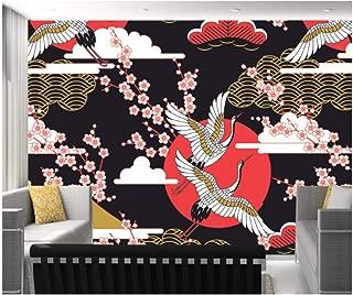 Mrlwy Papel pintado de estilo japonés, grullas y flores de cerezo, mural retro natural para el fondo del restaurante de la sala de estar-150X120CM