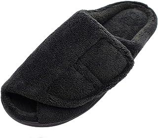 W&Lesvago Men's Extra Wide No-Slip Edema Slippers - Adjustable Memory Foam Indoor Slippers