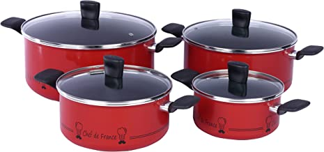 TEFAL Essential Chef De France 8Pcs Pots and Pans Set, Aluminum Non-stick - B3131262