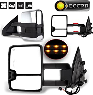 ECCPP Towing Mirrors Power Heated LED Signal Chrome Cover Replacement fit for 14-17 Chevy Silverado GMC Sierra