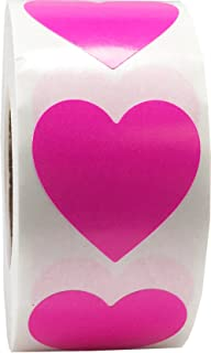 Hot Pink Heart Stickers Valentine's Day Crafting Scrapbooking 1 Inch 500 Adhesive Stickers