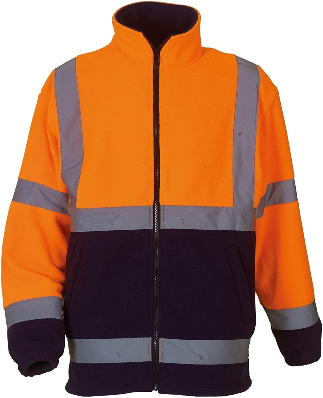 Yoko Mens Hi Vis Heavyweight Fleece Jacket (3XL) (Orange/ Navy)