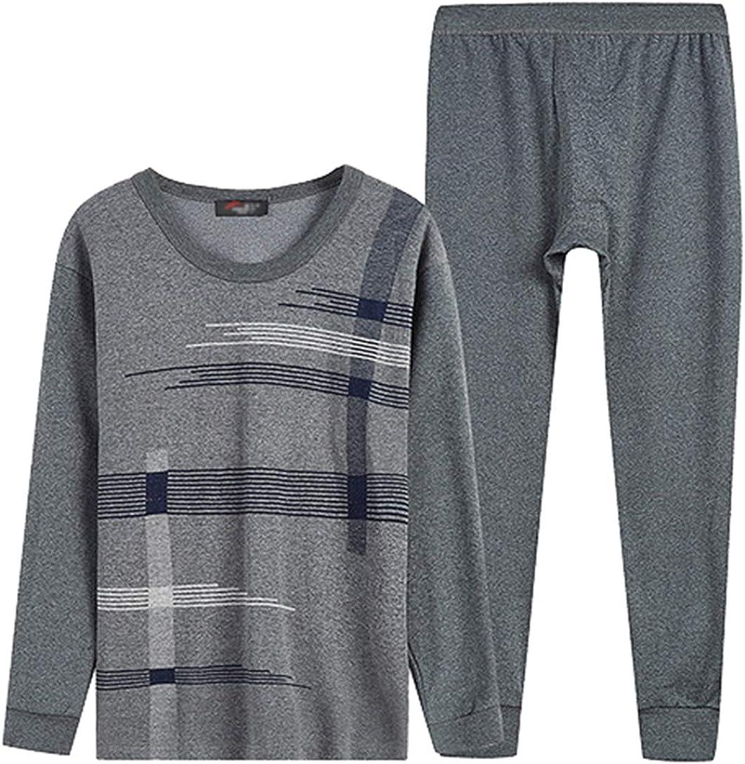 Femaroly Men's Cotton Thermal Underwear Set Autumn Cozy Long Johns Thermals