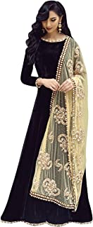 Pop Mantra Women's art silk anarkali Salwar Suit Set (70918_ Black_ Xxx-Large)