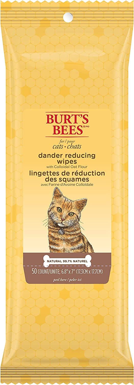 Burt's Bees for Cats FFP7372CP6 AllNatural Dander Reducing Wipes   Best Grooming Wipes for All Cats and Kittens, 50 Count, Pack of 6