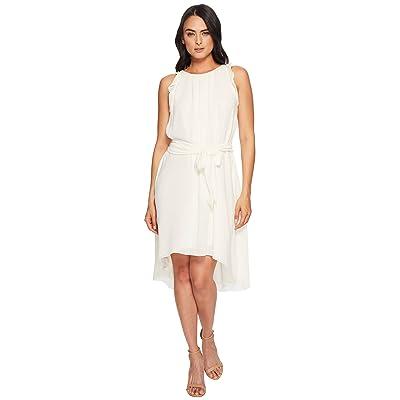 Halston Heritage Sleeveless Flounce Sleeve Dress (Cream) Women