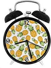 Pineapples Tropical Climate Fruits Sweet Ripe Juicy Food, Metal Double Bell Alarm Clock, Family Bedroom Travel School Battery Operation Light (Black) 4in