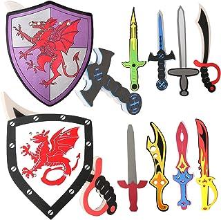 Foam Swords for Boys Kids Sword and Shield Toy Set Pretend Play Assorted Warrior Ninja Weapons 10 PCS