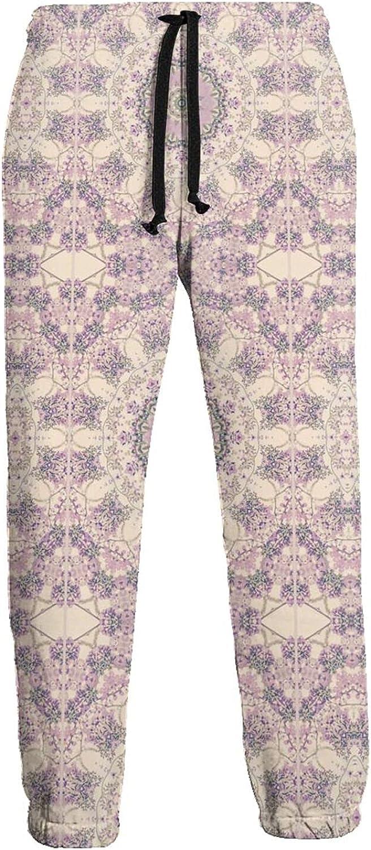 KAWAHATA Cream Purple Mandala Men's Pants with Pockets Tapered Athletic Sweatpants 3D Casual Active Sports Pants