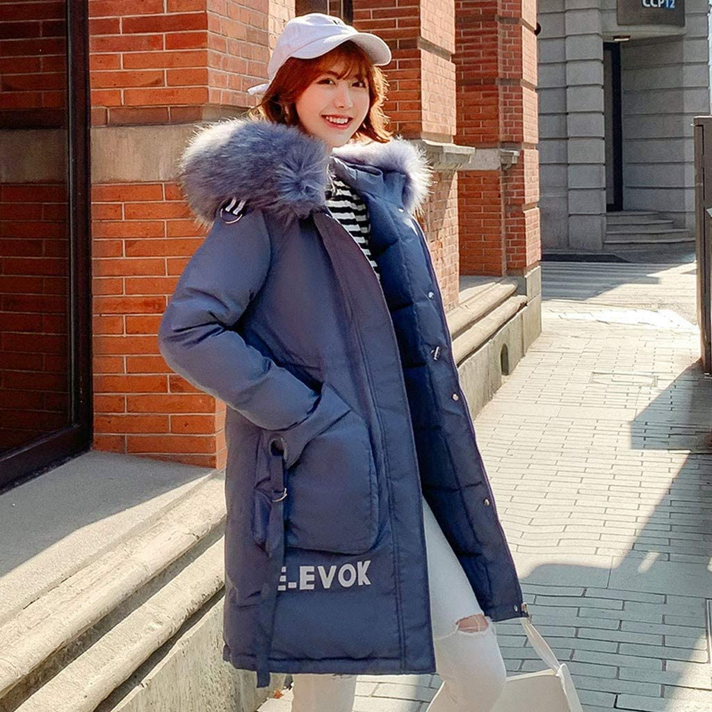 ITISME Damen Winterjacke Wintermantel Lange, 2019 Neu Winter Baumwolle Mantel Mit Kapuze Solide Fake Fuchspelz A Blau
