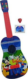 Kids Toy Music Guitar Gift Bundle  3 Items, Disney Junior Mickey Mouse Play Guitar 24 Inches long   Real Guitar Strings, one Pick and one Mickey Mouse Badge  Ukulele Size