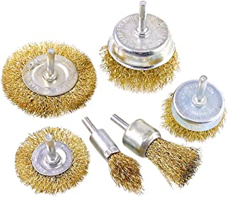 Swpeet 6Pcs Brass Coated Wire Brush Wheel & Cup Brush Set with 1/4-Inch Shank, 6 Sizes Coated Wire Drill Brush Set Perfect...
