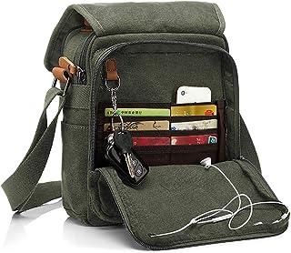 CHEREEKI Bolso de Lona, Bolso de Hombre Bolso Bandolera con Múltiples Bolsillos Sostiene Tableta de 10 Pulgadas, iPad, Kindle