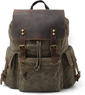 01bb4cb544c7 SUVOM Vintage Canvas Leather Laptop Backpack for Men School Bag 15.6