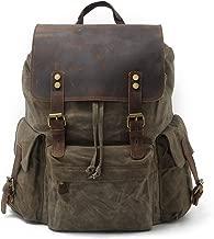 SUVOM Vintage Canvas Genuine Leather Laptop Backpack for Men School Bag 15.6