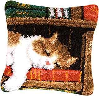 Baosity DIY Latch Hook Pillow Kits for Beginners Embroidery Animal Dogs Cat Pattern - Sleeping Cat