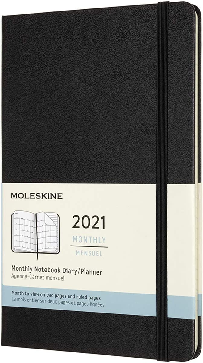5 x 8.25 Large Moleskine 12 Month 2021 Monthly Planner Black Hard Cover DHB12MN3Y21