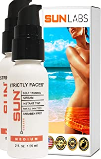 Sun Laboratories Strictly Faces, Medium, 2 Fl oz, 2 Pack Self Tanning Lotion for Face (Packaging May Very)