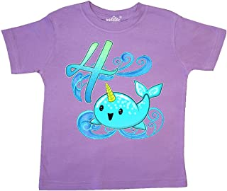 inktastic Cute Narwhal Fourth Birthday Toddler T-Shirt
