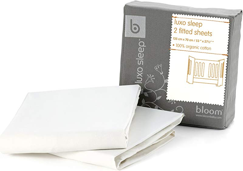 Bloom Alma Mini 2 Pc Fitted Sheet Set 100 Organic Cotton Coconut White